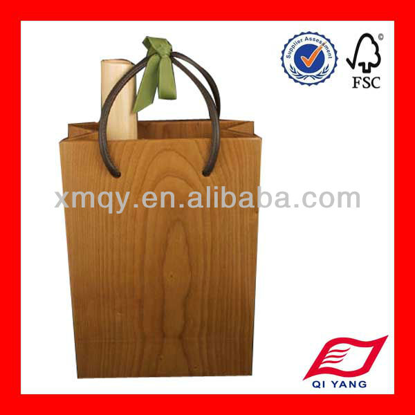 tree stripe paper wine bag with leather handles