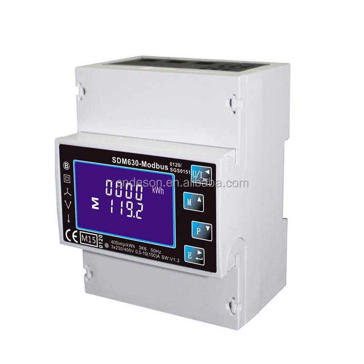 Single/Three Phase Multi-Function Din Rail Energy Meter , Digital Watt Hour Meter With Modbus Output SDM630-Modbus