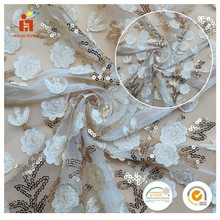 New design 3d guipure flower tulle embroidery fabrics beads sequin floral hand beaded fabric