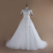 Rosabridal Short Sleeve Lace Appliques A-line Ball Gown Wedding Dresses Country Style