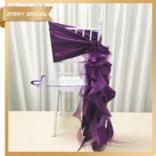 C384A dark purple ruffle organza chair sashes wedding