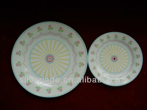 fashional and cheap white porcelain 2-tiers round plate hotel used for small cake