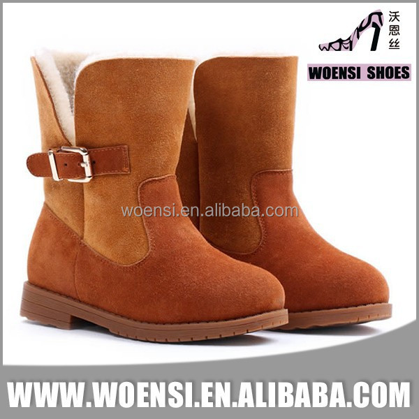 new nice boys brown suede quality warm comfort long snow kid boots