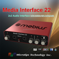 2x2 USB audio interface with 5V micro USB power input