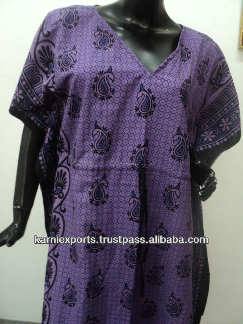 PURPLE COLOR COTTON PRINTED KAFTANS INDIAN JAIPUR VESTIDOS DRESSES GOWNS FOR GIRLS