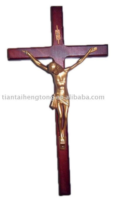 25.4cm wooden crucifix, wood cross with jesus statue on, wooden wall cross