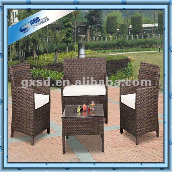 Dark brown rattan outdoor conjunto de muebles de terraza acristalada-Conjunto...