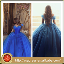 NSM-22 Dramatic Royal Blue Alibaba Special Occasion Party Gowns Off Shoulder Princess Style Real Sample Ball Gown Evening Dress