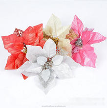 Colorful style silk artificial glitter Christmas flower