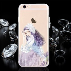 fancy beautiful girl tpu bling phone case for iphone 6 plus