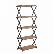 Mayco 5 Tier Bookcase Portable Metal Wood Display Stand Storage Unit Book <strong>Shelf</strong>