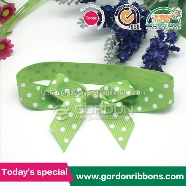 Big Packing Pull Bow /Green Ribbon with Polka Dot Ribbon Bow for Accessories