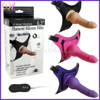 "6.3"" Sex Harness Silicone G-spot Strap on Vibrating Curved Dildo"