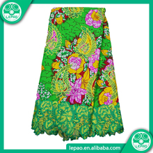 2017Good price lepao hitarget wax textile,super wax fabrics,wholesale ankara fabric with guipure