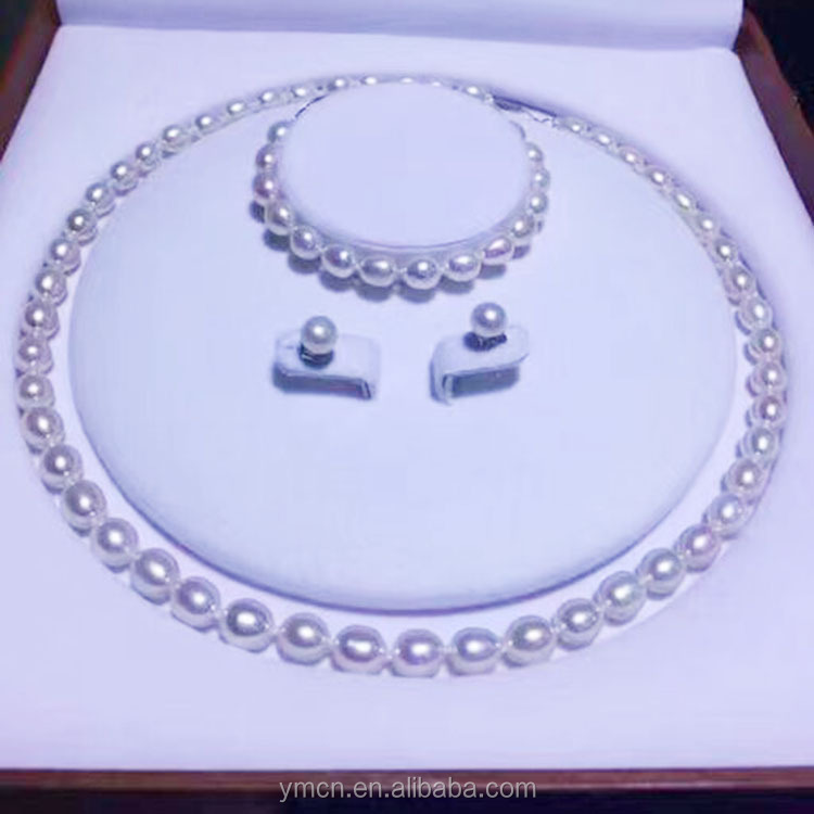 7~8mm Rice Shape Natural Freshwater Pearl Jewelry <strong>Set</strong> for wedding Factory Price