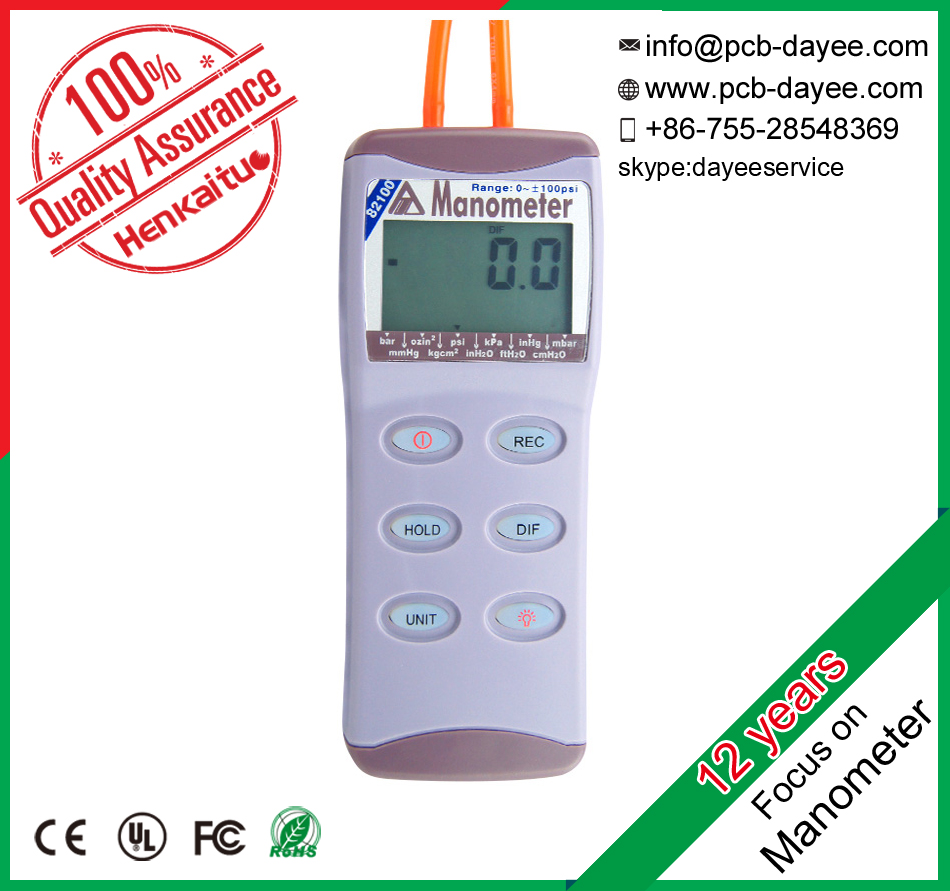 Portable Manometer 100psi Digital Air Pressure Meter Handheld Differential Pressure Gauge