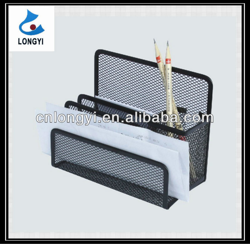 Hot Sell Office Supply Product Metal Mesh Wire Letter Tray With Pen Holder