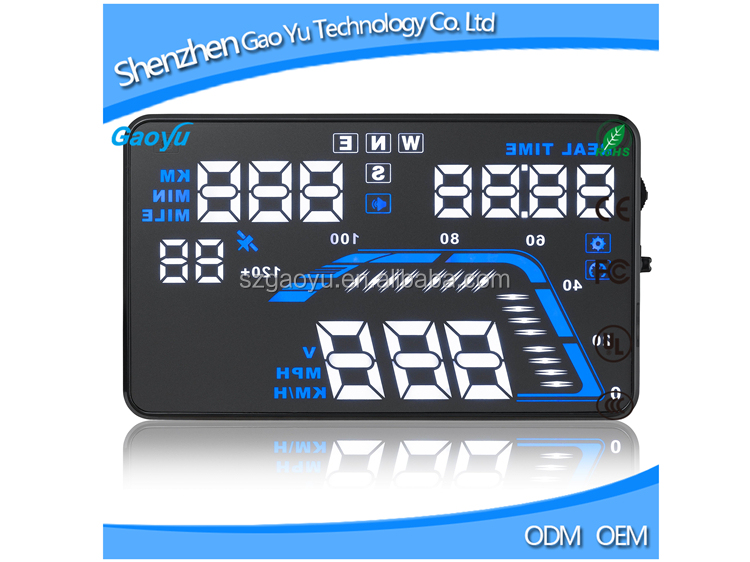 Universal 5.5'' GPS Car HUD Q7 Aftermarket Head Up Display Dashboard Data Window Projector With Warning System