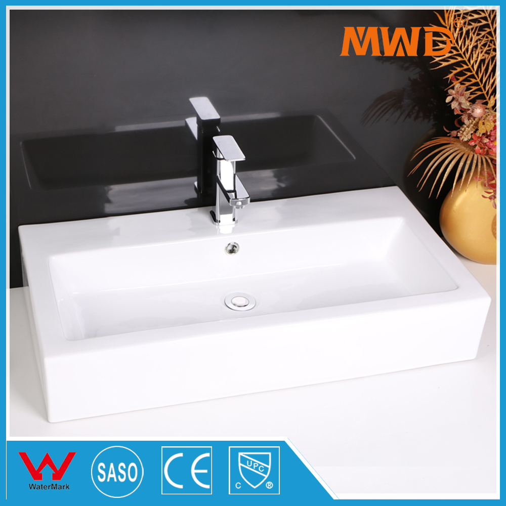 K2145 elongated above counter mounting long bathroom ceramic sink with one faucet install <strong>hole</strong>