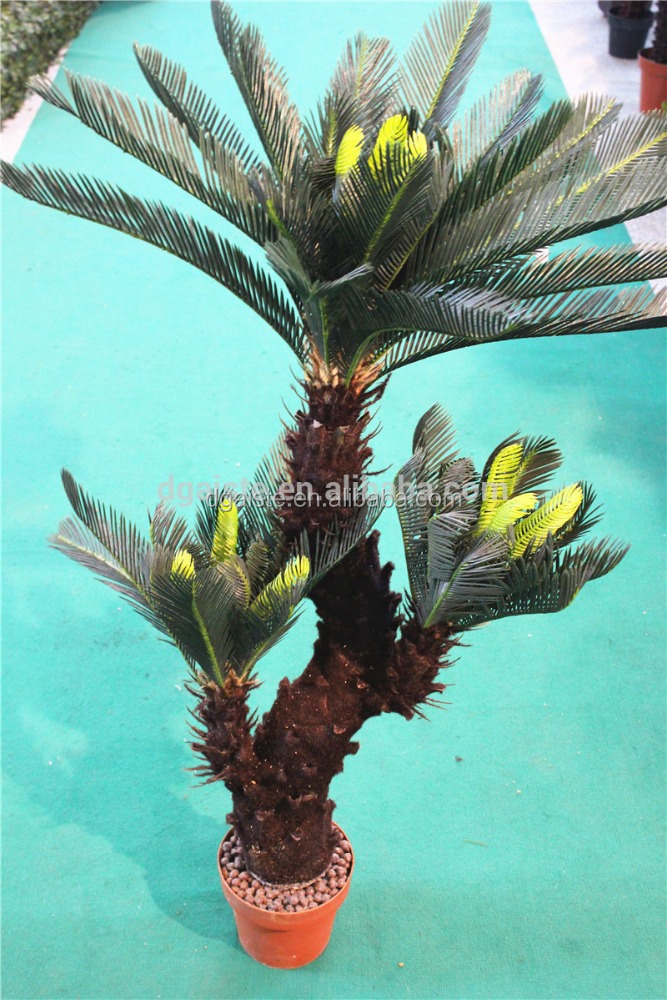 three branches potted cycas artificial rainforest tropical bonsai plant