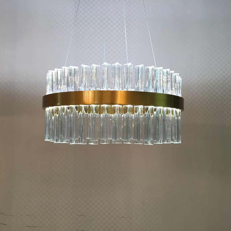 cheap factory price K9 crystal iron base gold luxury glass hanging pendant lights and lighting
