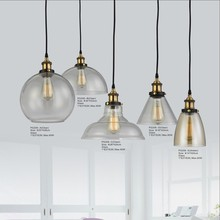 Rubbed Bronze Vintage Hanging Pendant Lights with Clear Glass Shades Led Commercial Lighting