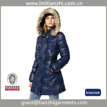 2014 women winter short style classic blue with belt / duck down jacket