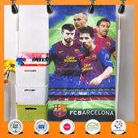 Hot 100% cotton soccer team FCB BARCELONA velour printing beach towel china factory