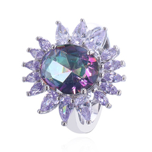 Vintage Colorful Rainbow Stone Rings Women Big Oval Stone Purple Marquise Cubic Zirconia Sunflower Ring Anel Bague DE02