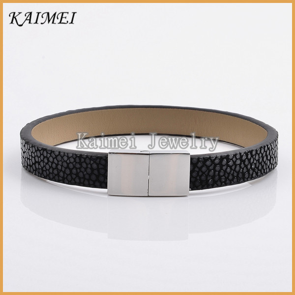 Luxury Dubai Bangle 2017 Handmade Mens Magnetic Clasp Black Stingray Bracelets Jewelry