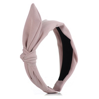Queena Fine Cotton Solid Color Women Hair Hoop Stretch Accessories Wide Side Headband