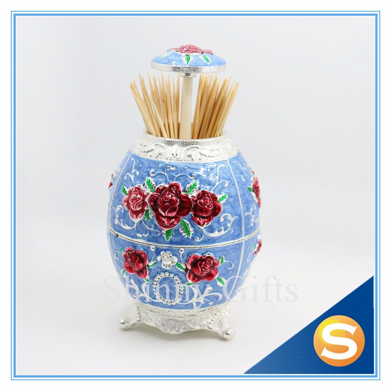 Wedding Favor Gift Multi function Metal Rose Design Automatic Toothpick holder with bottler opener