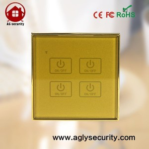 RF 4-Gang Wall Touch Smart Light Switch OEM Home Automation Ultra Low Power Smart Light Switch