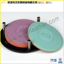 Colorful Set of 4 Piece Leather Coaster Cup Glass Table Mat Pad with Coaster Holder