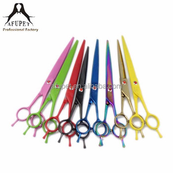 baked porcelain straight feet 8 inch right hand dog pet grooming scissors