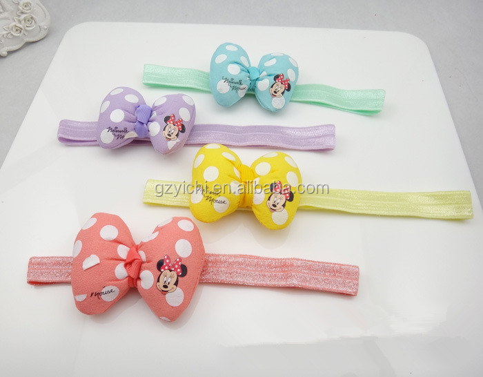 Wholesale Cute Mickey Printed Women Accessories Baby Headband Gils 0~3 years Old Minnie Barrette Hair Tie