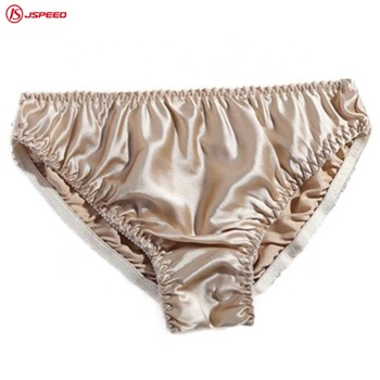 Women plain shining color 100% ice silk panties underwear for ladies