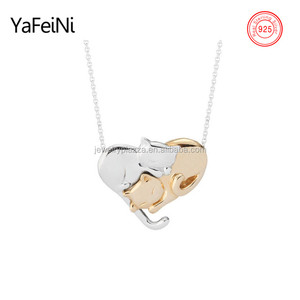 Factory direct sale 925 sterling silver jewelry,pure silver necklace,adorable cat heart necklace