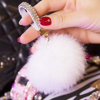 New Mobile Strap Keychain Imitate Rabbit Faux Fur Pom Pom Fur Ball Keychain