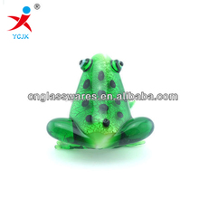 hand blown green glass animal frog figurines