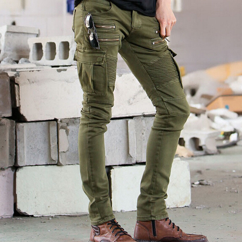 Green Black With Zipper Mens Skinny Runway Distressed Biker Denim Jeans