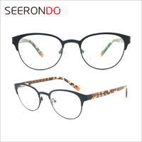 SEERONDO Elastic Paint Leopard Temple Round Frame Glasses Optical Metal Eyeglass For Women