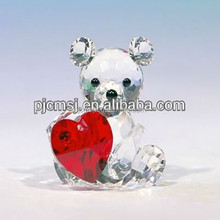 Bear Crystal Animal With Red Heart For Wedding Decoration