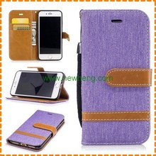 Color Matching Style jean cloth Leather Case for iPhone 6 6 Plus