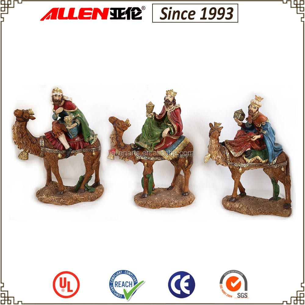 "12.2"" the three kings holding treasure on camel resin figurine for Christmas decoration"