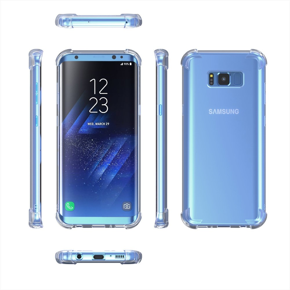 For Samsung s8 Case, Drop Cushion Crystal Clear Soft TPU Bumper Slim Case Cover with Raised Bezels for Samsung Galaxy S8