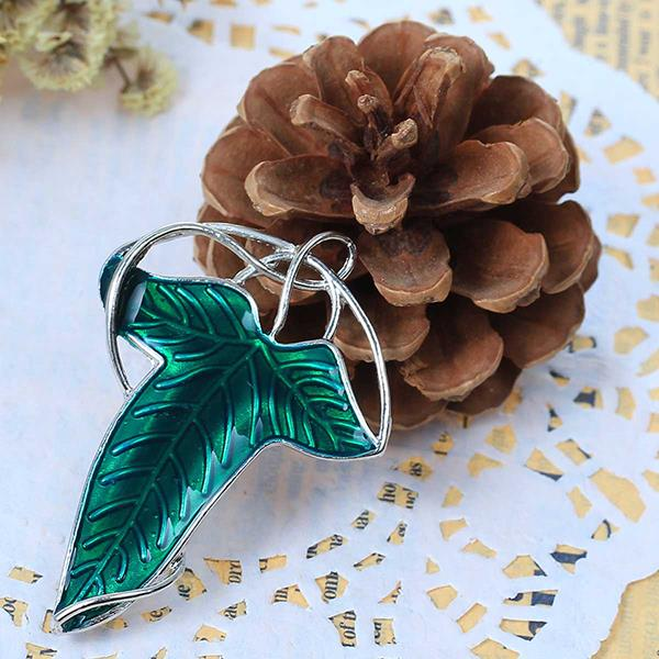 Custom Green Enamel The Lord of The Rings Elven Leaf Brooch Pendants