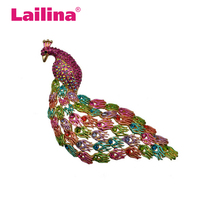 Rhinestone Crystal Large Animal Peacock Brooch