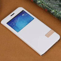 Window View Premium PU Leather Folio Case Flip Cover W Stand for Samsung Galaxy A8