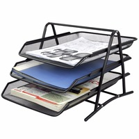 Factory office desk organizer metal mesh 3 tier document file tray